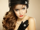 Retro portrait of  beautiful woman. Vintage style. Fashion photo